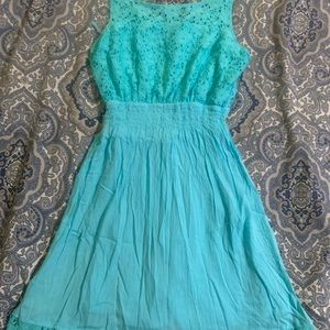 So heritage teal skater dress